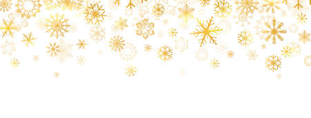 Golden snowflakes falling on white background. Gold snowflakes border with different ornament. Luxury Christmas garland. Winter ornament. Celebration banner. Vector illustration