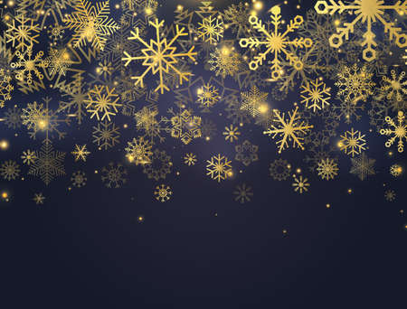 Christmas banner with glitter gold snowflakes, glowing lights and stars. Luxury card with falling particles and sparkling snowflakes. Celebration background. Vector Illustration Ilustracja