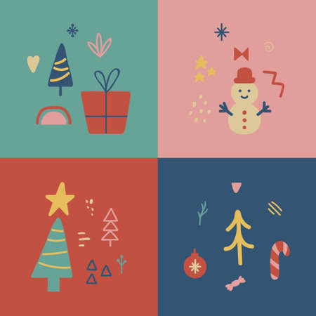 Social media cover Christmas design. Winter Holiday poster set. Unique hand drawn minimal xmas collection. Party decoration. Highlight decoration. Organic shape for greeting cards. Vector illustration 向量圖像