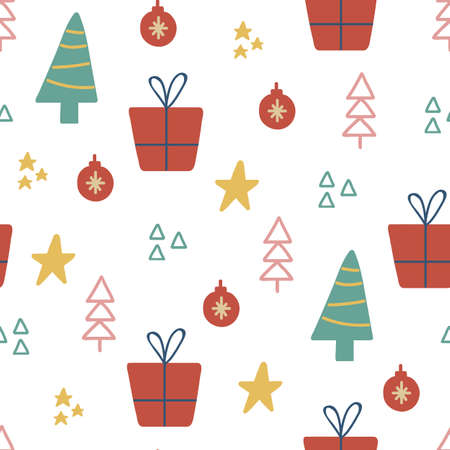 Christmas seamless pattern with tree, star, gif box. Hand drawn unique texture for greeting card. Winter Holiday design elements. Celebration party decoration. Social media cover. Vector illustration