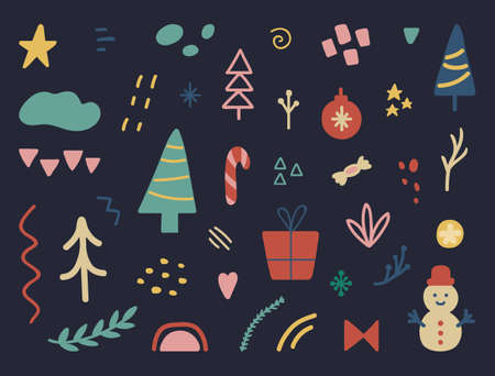 Christmas design elements set. Celebration banner. Unique hand drawn Holiday collection for greeting card. Winter party decoration. Social media cover design. Organic shapes. Vector illustration