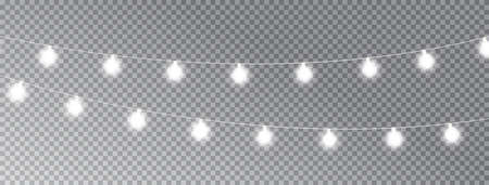 Christmas lights isolated on transparent long banner. Glowing white garland lights. Celebration background. Led neon lamp. Bright decoration for xmas cards, posters, web design. Vector illustration 向量圖像