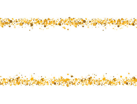 Golden glitter border on white background. Gold sparkling confetti. Luxury holiday frame. Celebration decoration banner. Bright sparkles and dust. Vector illustration
