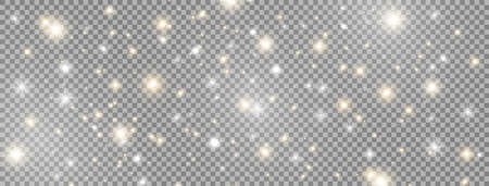 Glowing light effect decoration on long banner. Bright golden and white sparkles. Glitter magic dust particles. Shining stars composition. Sun flash. Celebration Christmas design. Vector illustration