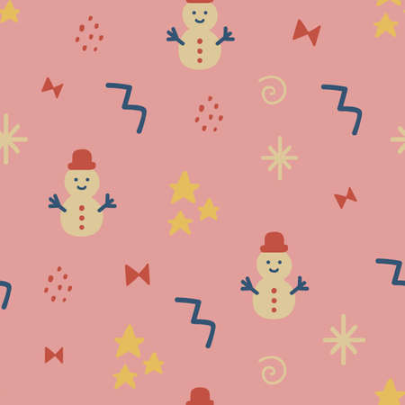 Christmas seamless pattern with stars, snowman, bow. Hand drawn unique texture for greeting card. Celebration party decoration. Winter Holiday design elements. Social media cover. Vector illustration