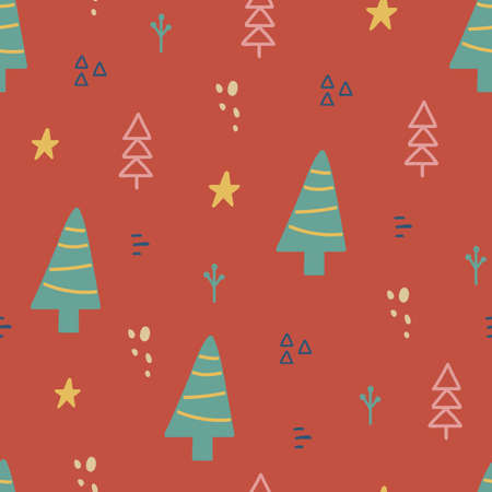 Christmas seamless pattern with xmas tree, stars. Hand drawn unique texture for greeting card. Winter Holiday design elements. Celebration party decoration. Social media cover. Vector illustration 向量圖像