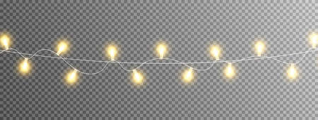 Christmas gold lights isolated on transparent long banner. Glowing garland lights. Celebration background. Led neon lamp. Bright decoration for xmas cards, posters, web design. Vector illustration