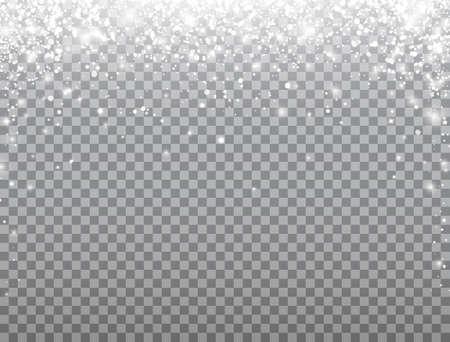 Shining snow frame. Merry Christmas card. Snow falling on transparent background. Celebration banner. Magic snowfall border. Winter design elements for card, poster, web. Vector illustration