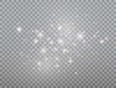 Glowing light effect. Shining snow composition. Bright white sparkles on transparent background. Christmas design. Glitter magic dust particles. Sun flash. Christmas design. Vector illustration