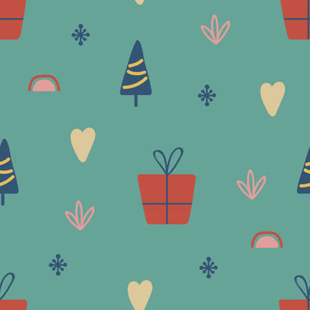 Christmas seamless pattern with tree, gift, rainbow. Hand drawn unique texture for greeting card. Winter Holiday design elements. Celebration party decoration. Social media cover. Vector illustration 向量圖像