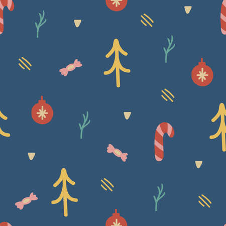 Hand drawn unique texture for greeting card. Christmas seamless pattern with xmas tree, ball, candy cane. Winter Holiday design element. Celebration decoration. Social media cover. Vector illustration 向量圖像