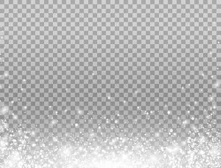 Shining snow border. Merry Christmas card. Snow falling on transparent background. Celebration banner. Magic snowfall frame. Winter design elements for card, poster, web. Vector illustration