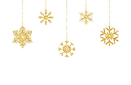 Christmas gold hanging snowflakes on white background. Celebration party design elements. Glitter golden decoration garland. Happy New Year border. Luxury greeting card. Vector illustration