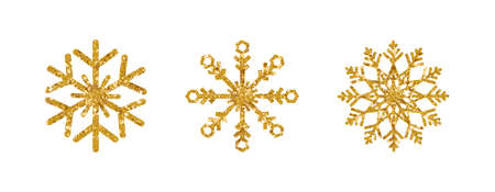 Gold glitter snowflakes set on white background. Luxury design element. Shining snowflake with sparkles and star. Christmas and New Year greeting card. Holiday ornament. Vector illustration