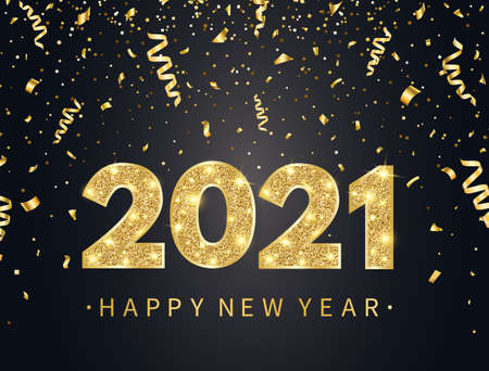 2021 Happy New Year background with gold confetti, glitter, sparkles and stars. Holiday banner with bright golden text and numbers.  Vector illustration 向量圖像