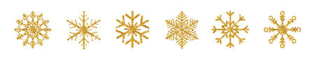 Golden snowflakes set on white long background. Luxury design element. Shining snowflake with glitter, sparkles and star. Holiday ornament. Vector illustration 版權商用圖片