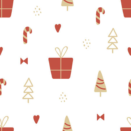 Christmas texture with gold and red tree, gif box, candy canes. Hand drawn unique seamless pattern for greeting card. Winter design elements. Celebration party decoration. Vector illustration