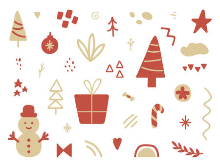 Unique hand drawn Holiday collection. Christmas design elements set. Winter party sticker decoration. Social media cover design. Daily planner. Greeting card. Vector illustration 向量圖像
