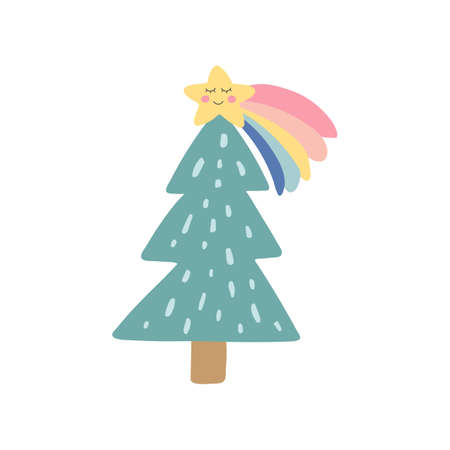Cute Christmas tree with rainbow star. Kids nursery icon. Trendy hand drawn christmas tree. Holiday design element. Baby shower sticker. Daily planner. Vector illustration