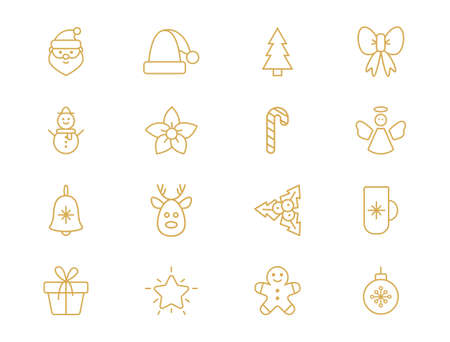 Christmas line art golden set. Outline design elements with snowflake, santa, star, christmas tree, ball, sock, gift box, candy cane, reindeer. Cute traditional Holiday icons. Vector illustration