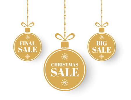 Merry Christmas and New Year sale balls. Christmas labels. Golden xmas balls with big, final sale. Special offer winter tag. Holiday price design elements. Circle banner with bow. Vector illustration