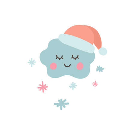 Cute cloud icon with snowflakes and santa hat. Baby shower sticker. Unique hand drawn funny cloud. Cute kids nursery label in pastel color. Lovely cartoon for wrapping, apparel. Vector illustration