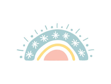 Rainbow with snowflakes. Baby shower sticker. Unique hand drawn rainbow. Cute kids nursery icon in pastel color. Lovely cartoon rainbow for wallpaper, fabric, wrapping, apparel. Vector illustration 向量圖像