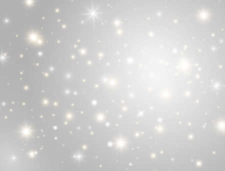 Glitter light effect design. Christmas banner. Bright golden and white sparkles on gray background. Glowing magic dust particles. Shining stars composition. Sun flash. Vector illustration 向量圖像