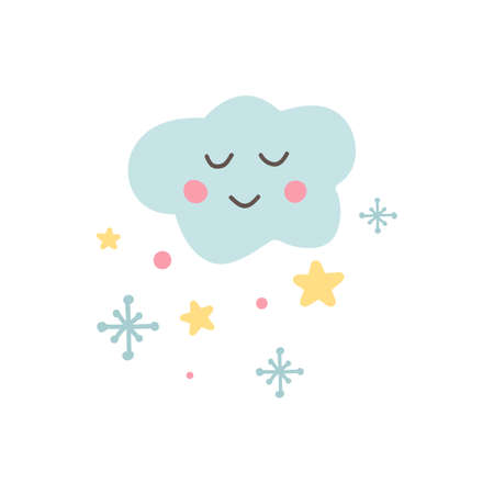 Cute cloud icon with snowflakes and stars. Baby shower sticker. Unique hand drawn funny cloud. Kid nursery label in pastel color. Lovely cartoon for wrapping, apparel. Vector illustration