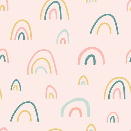 Unique hand drawn rainbow texture. Rainbow seamless pattern. Cute kid nursery background in pastel colors. Baby shower. Lovely cartoon rainbows for wallpaper, fabric, apparel. Vector illustration