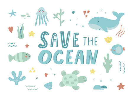 Save the ocean hand drawn sea life elements. Unique marine life objects. Collection of ecology stickers. Doodle underwater seascape. Sea fauna with whale, shell, turtle, corals. Vector Illustration
