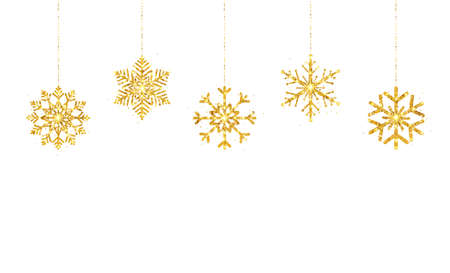 Glitter gold hanging snowflakes on white background. Happy New Year border. Luxury greeting card. Christmas golden decoration garland. Holiday party design elements. Vector illustration 向量圖像