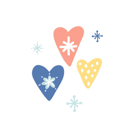 Unique hand drawn hearts. Cute Christmas hearts with snowflakes. Daily planner sticker. Kid nursery icon in pastel color. Lovely cartoon heart for wallpaper, wrapping, apparel. Vector illustration