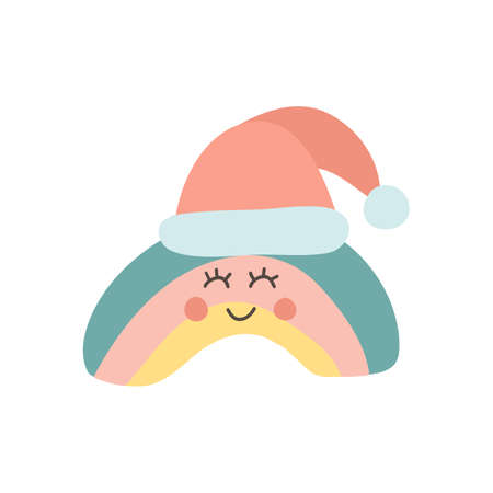Cute Christmas rainbow with santa hat. Baby shower sticker. Unique hand drawn rainbow. Kid nursery icon in pastel color. Lovely cartoon rainbow for wallpaper, wrapping, apparel. Vector illustration