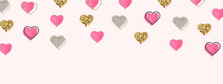 Glitter gold and watercolor pink hearts border. Valentines Day background. Bright doodle heart confetti. Romantic wallpaper design with symbol of love. Celebration frame. Vector illustration