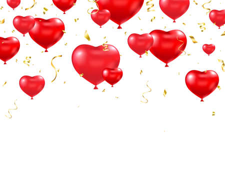Heart balloon with gold confetti frame. Celebration background. Realistic red balloons shape heart border. Happy Valentines Day greeting card. Luxury party border. Vector illustration