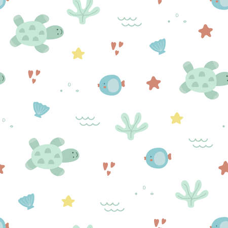 Sea life seamless pattern. Hand drawn unique marine life objects. Save the ocean texture. Doodle underwater seascape in pastel color. Sea fauna with turtle, shell, coral, starfish. Vector Illustration