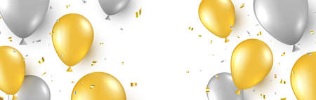 Celebration background with gold and silver balloons and flying confetti. Happy birthday banner. Anniversary party decoration. Golden foil balloon. Grand opening border. Vector illustration 向量圖像