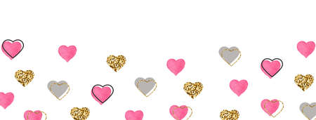 Glitter gold and watercolor pink hearts frame. Celebration background. Valentines Day banner. Bright doodle heart confetti. Romantic wallpaper design with symbol of love. Vector illustration