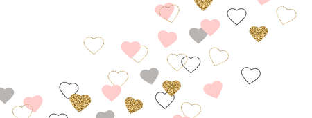 Glitter gold and pink hearts border. Celebration frame. Valentines Day background. Bright doodle heart confetti. Luxury greeting card. Romantic wallpaper design with symbol of love. Vector illustration
