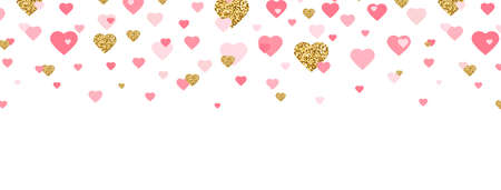 Valentines Day background with hearts confetti. Glitter gold and pink heart long border. Celebration frame. Romantic wallpaper design with symbol of love. Vector illustration