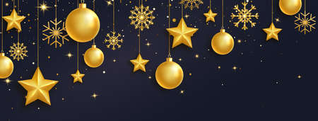 Golden balls, stars and snowflakes garland on long banner. Luxury hanging baubles with ribbon. Christmas 3d gold glass toys.  Festive glitter design elements.