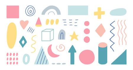 Geometric shapes set. Unique hand drawn geometric templates. Organic shapes in pastel color. Memphis design elements for social media.