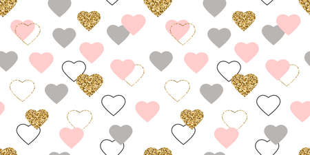 Glitter gold and pink hearts seamless pattern. Celebration frame. Valentines Day background. Bright doodle heart confetti. Luxury greeting card.