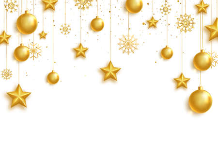 Gold balls, stars and snowflakes frame. Celebration background. Bright Holiday ornament. Luxury hanging baubles. Christmas 3d gold glass toys. 版權商用圖片