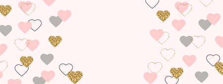 Celebration frame. Glitter gold and pink hearts border. Valentines Day background. Bright heart confetti. Luxury greeting card. Romantic wallpaper design with symbol of love. 向量圖像
