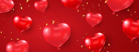 Happy Valentines Day holiday card. Heart red balloon with gold confetti long banner. Realistic balloons shape heart. Celebration background. Luxury party border. Vector illustration