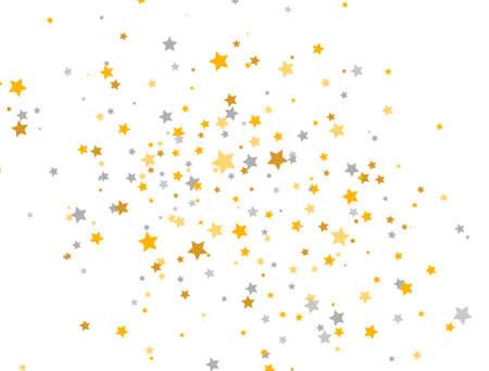 Golden and silver stars on white background. Celebration banner. Glitter elegant design elements. Gold shooting stars. Magic decoration. Christmas texture. Vector illustration 向量圖像