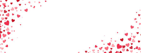 Heart confetti frame. Celebration banner. Bright pink hearts falling on long border. Valentines Day background for greeting cards, wedding invitation, gift packages. Vector illustration