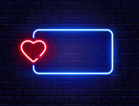 Neon frame with heart. Retro red neon heart sign. Bright night neon signboard on brick wall with backlight. Romantic dinner. Love symbol. Night disco design element. Vector illustration